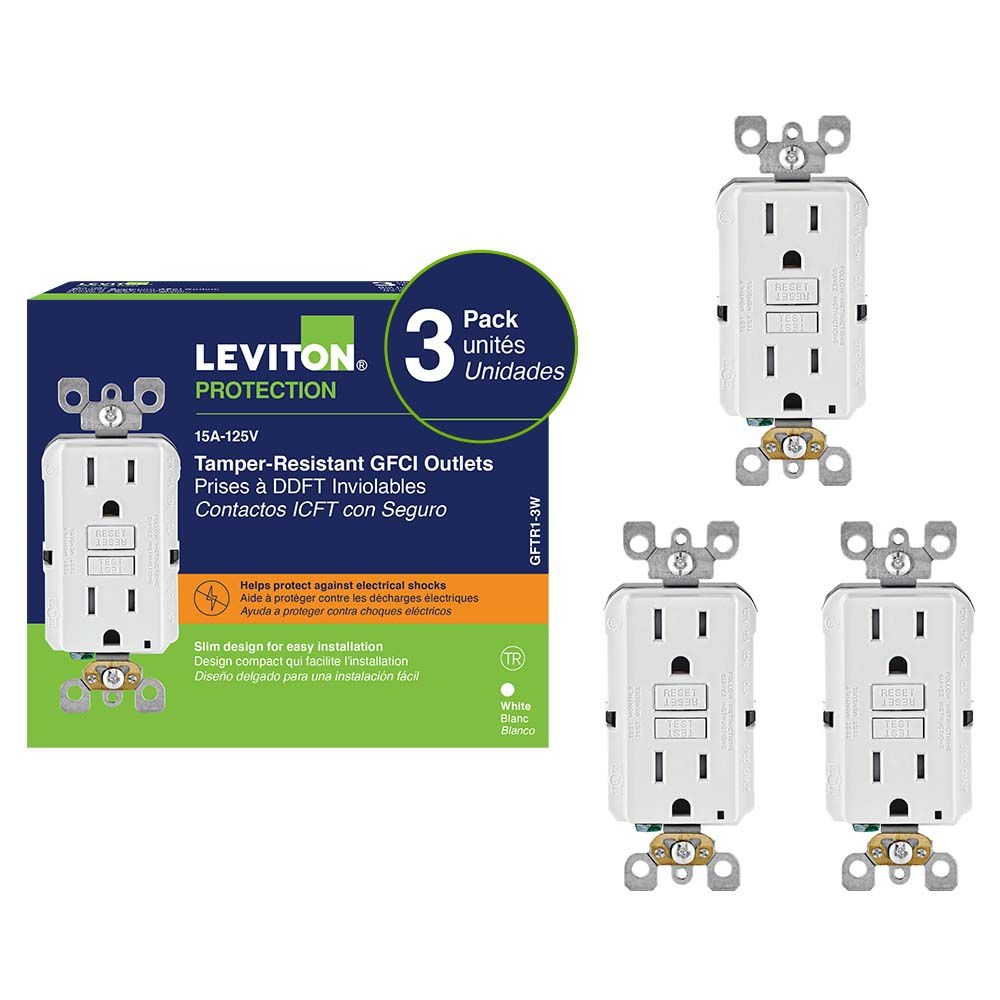 Decora 15 Amp Tamper Resistant Slim Gfci Receptacle 3 Pack The How To Hook Up A Gfi Outlet Home Depot Canada
