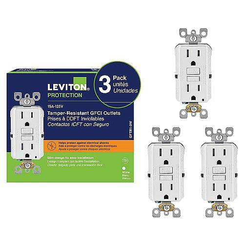 Leviton Decora 15 Amp Tamper-Resistant Slim GFCI Receptacle (3-Pack)