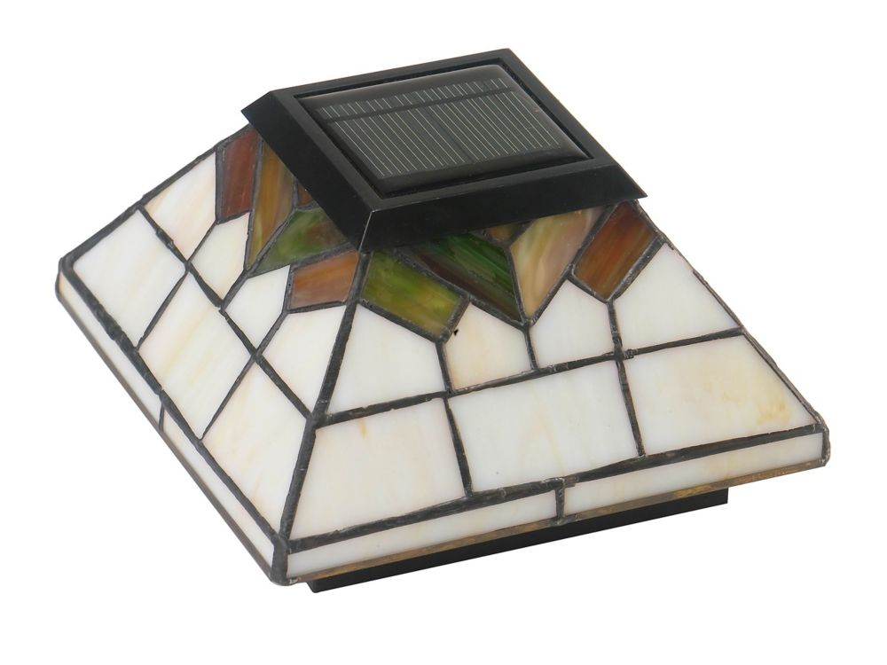 Classy Caps Wellington 4 inch x 4 inch/ 5 inch x 5 inch Outdoor Stain Glass Solar Post Cap