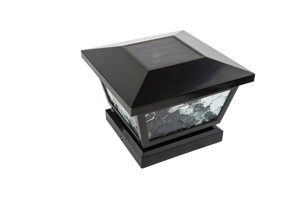 Classy caps lampe solaire pour poteau fairmont noir 5 po for Lampe solaire pour portail