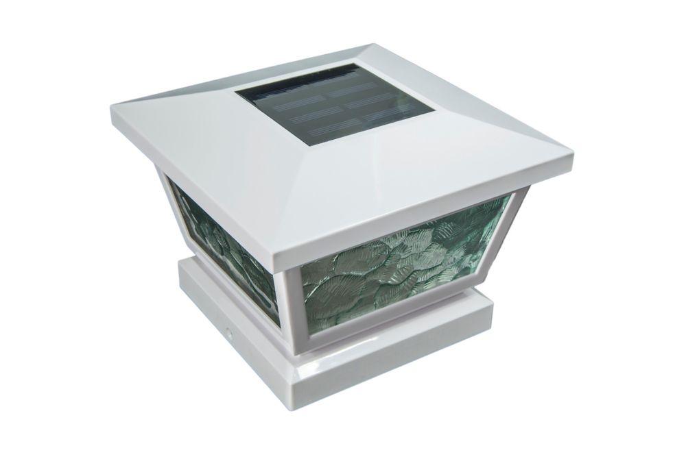 Lampe solaire pour poteau Fairmont- blanc 5 po x 5 po/ 4 po x 4 po/ 3,5 po x 3,5 po