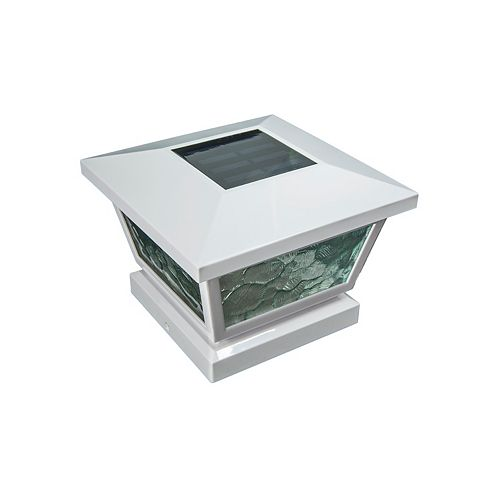 Classy Caps 5 inch x 5 inch/ 4 inch x 4 inch White ABS Outdoor Fairmont Solar Post Cap