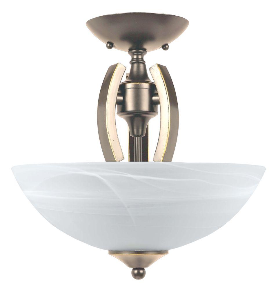 Shawson Lighting 12 Inches Semi-Flush Mount, Satin Nickel Finish