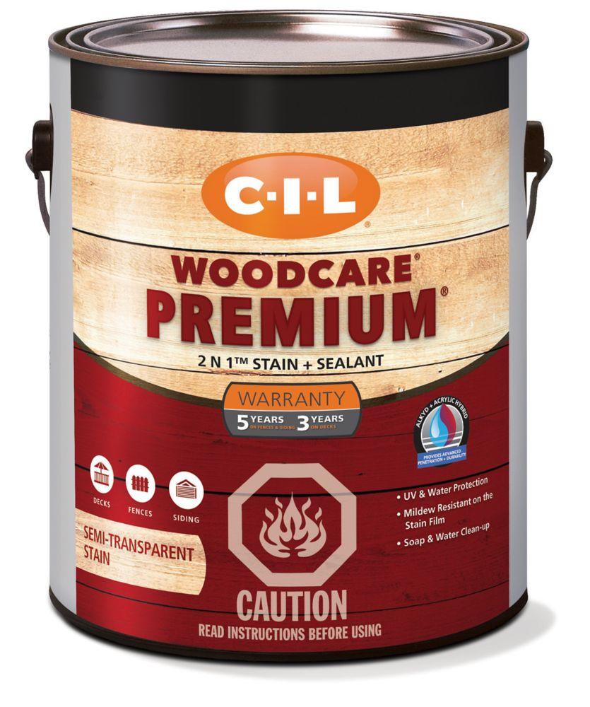 CIL Woodcare Premium Semi-Transparent Stain Deep Base, 3.3 L