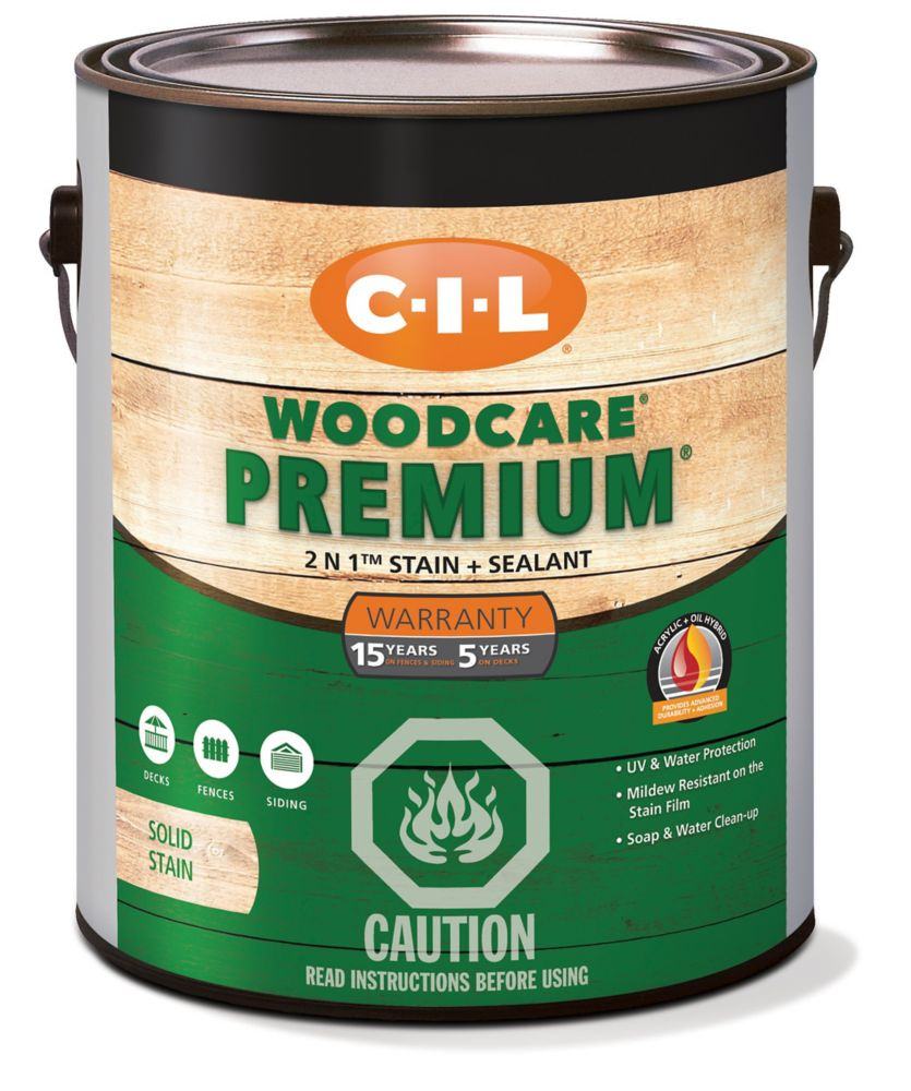CIL Woodcare Premium Solid Stain Light Base, 3.6 L