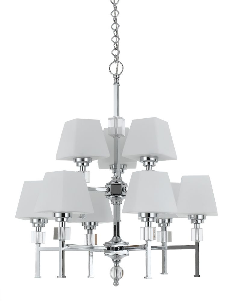 28  Inches Chandelier, Chrome Finish