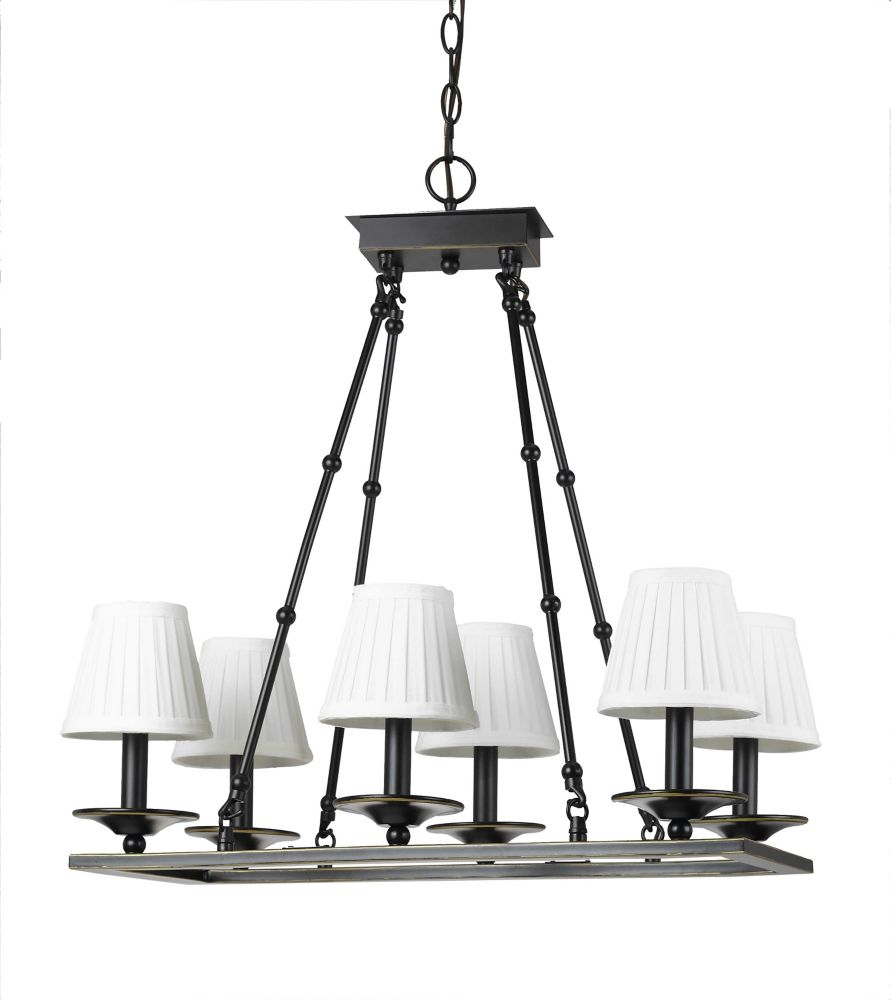 24 Inches Chandelier, Weathered Bronze Finish CC227/6WB in Canada