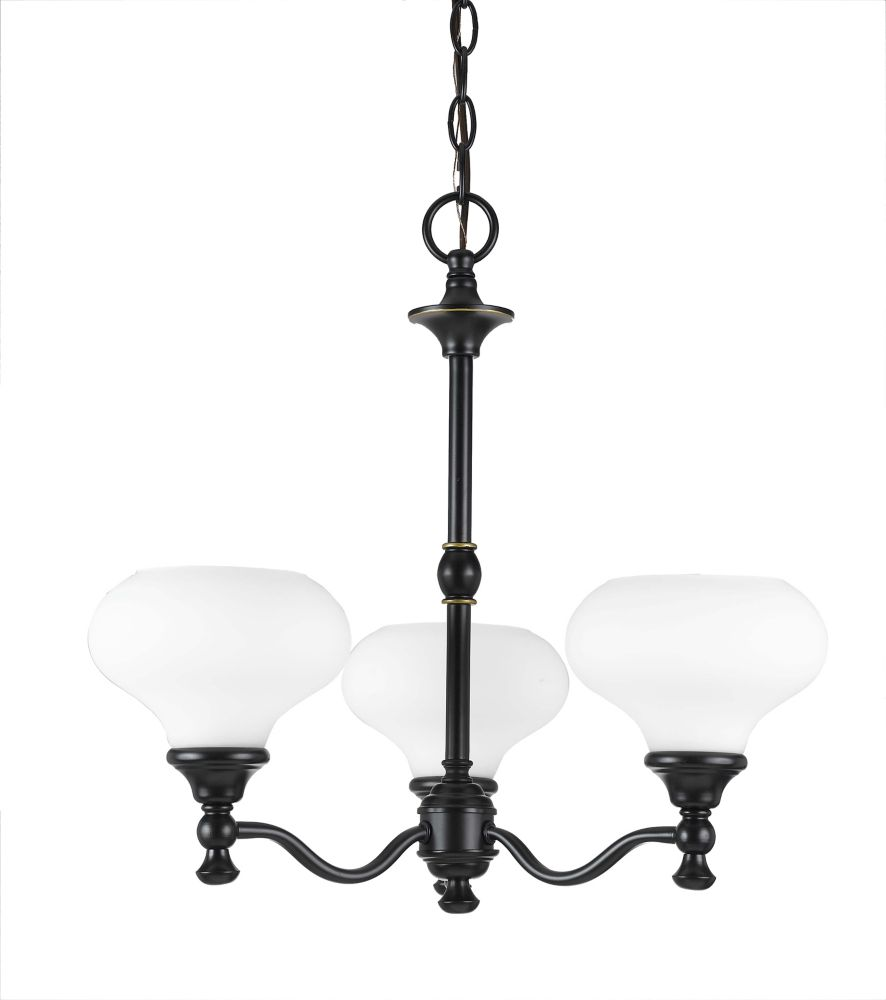 20 Inches Chandelier, Weathered Bronze Finish