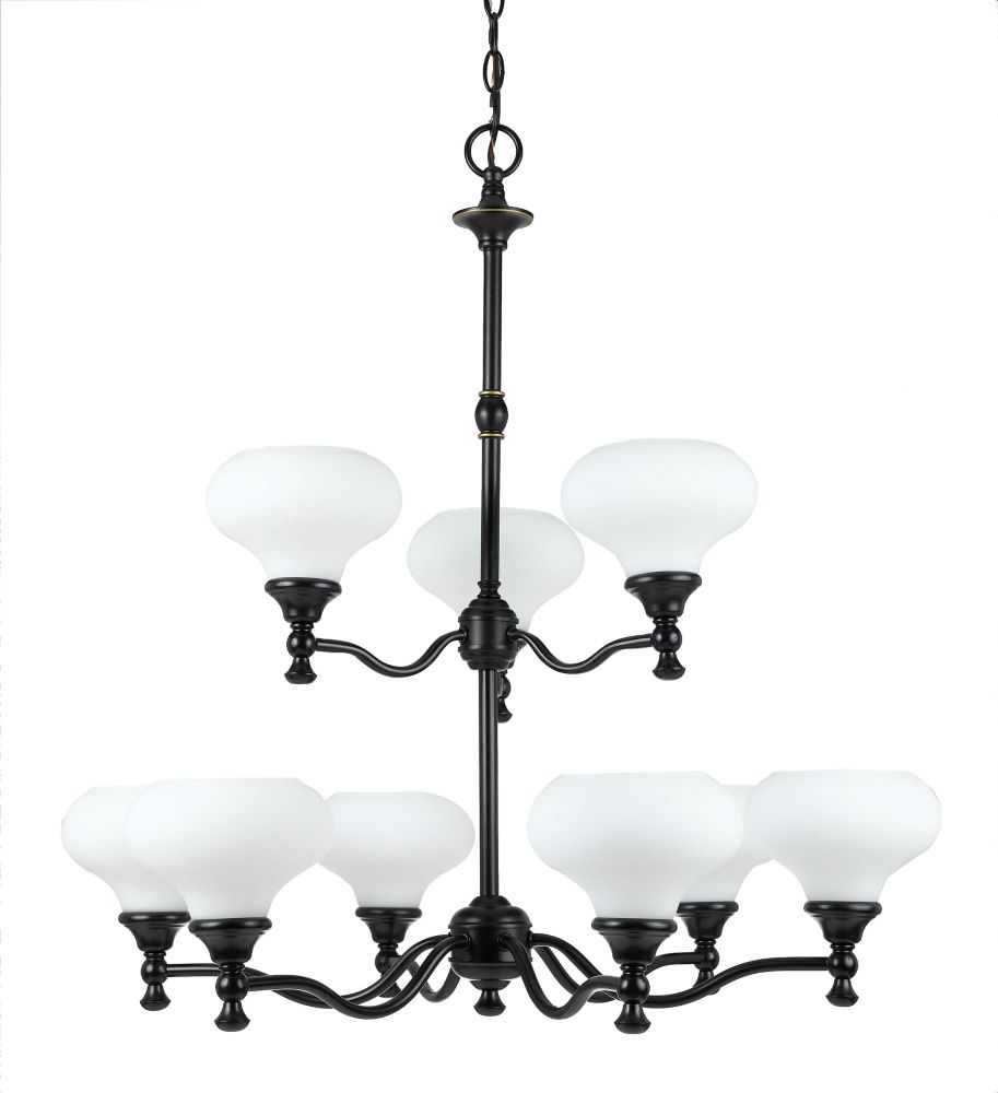 30 Inches Chandelier, Weathered Bronze Finish