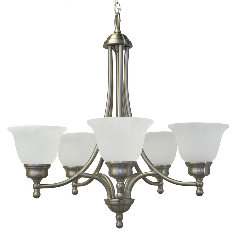24 Inches Chandelier, Brushed Nickel Finish