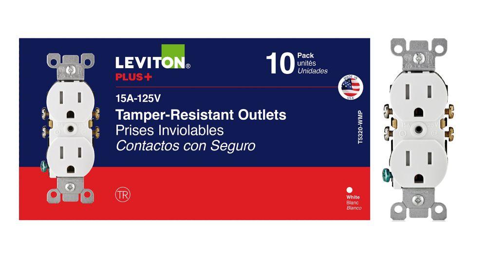 Duplex Tamper Resistant Receptacle, 10 pack, White