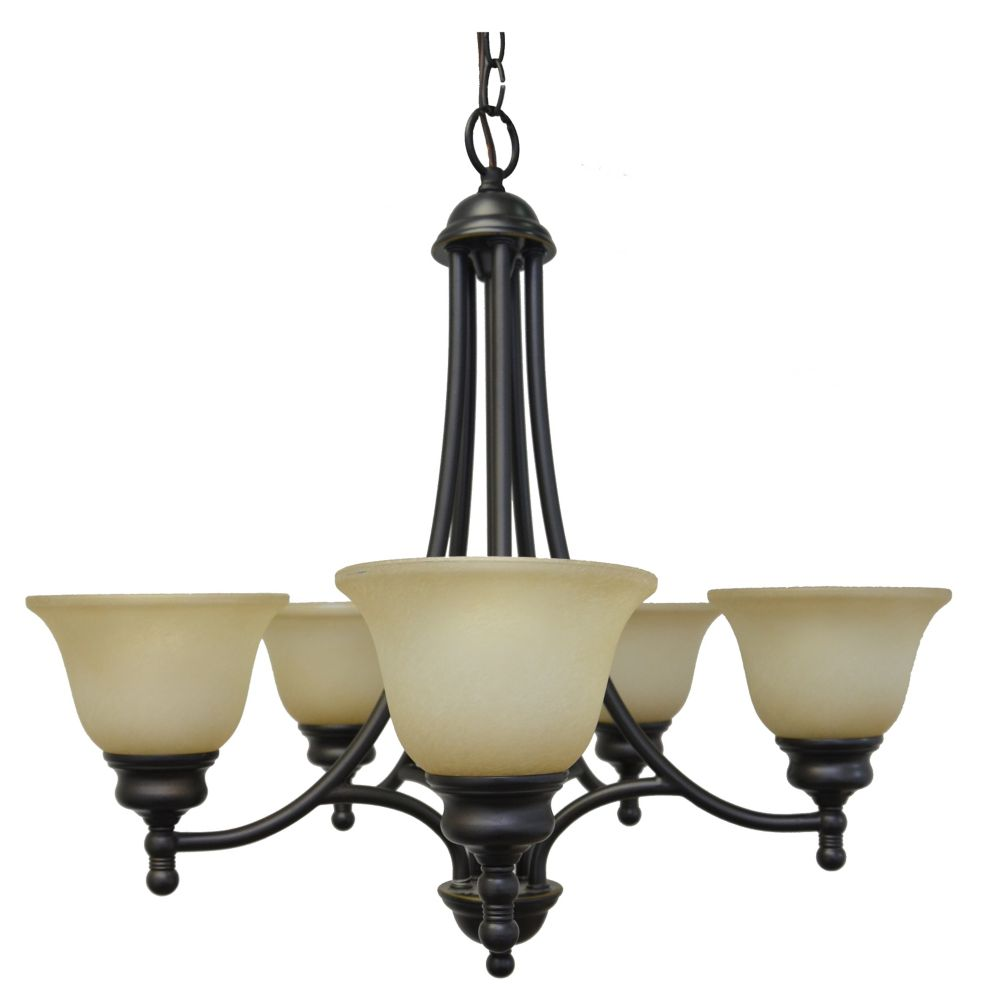 24 Inches Chandelier, Weathered Bronze Finish