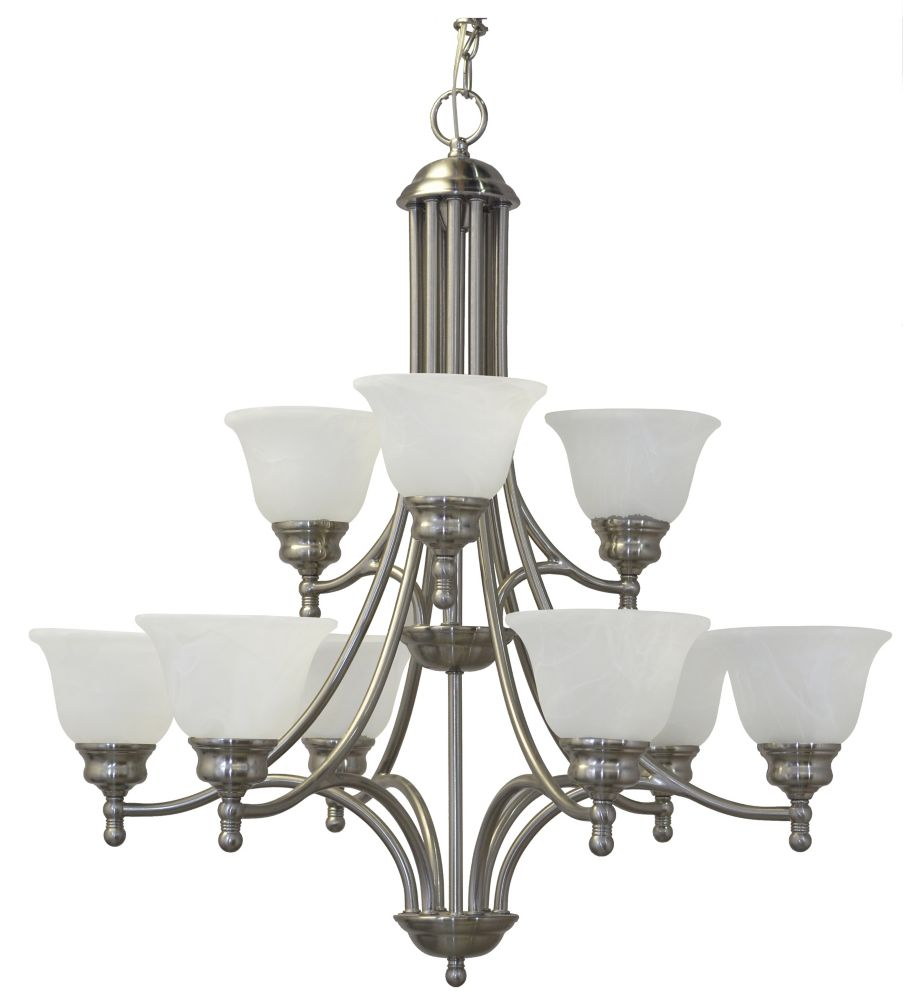 30 Inches Chandelier, Brushed Nickel Finish