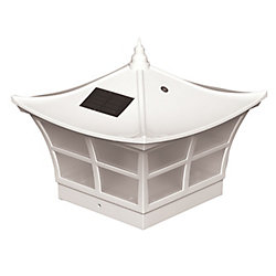 Classy Caps Ambience 5 inch x 5 inch Outdoor White Vinyl LED Solar Post Cap