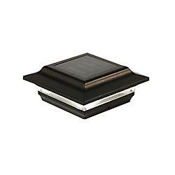 Classy Caps Imperial 4 inch x 4 inch Outdoor Black Cast Aluminum LED Solar Post Cap