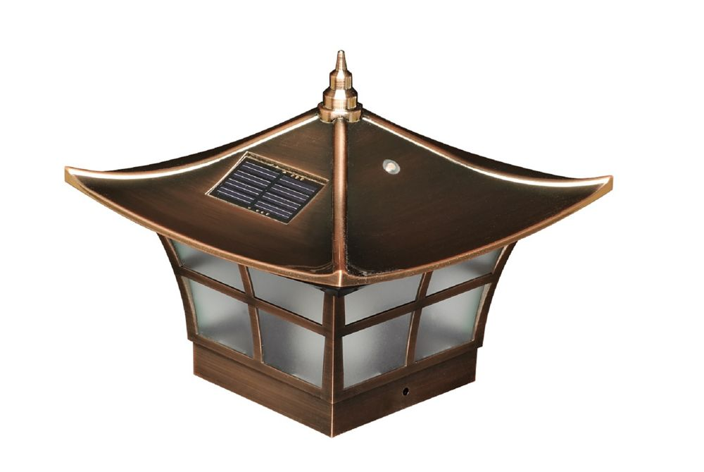 classy caps 4x4 copper plated ambience solar post cap. Black Bedroom Furniture Sets. Home Design Ideas