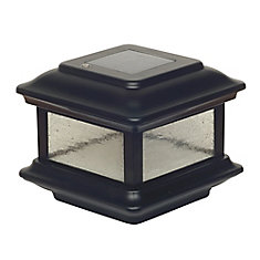 Colonial 3.5 inch x 3.5 inch Outdoor Black Cast Aluminum LED Solar Post Cap