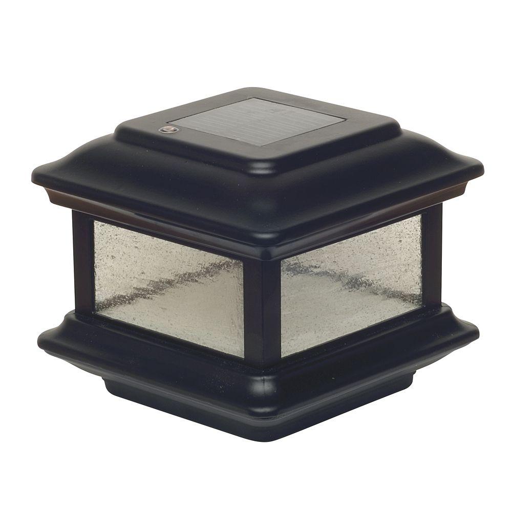 Lampe solaire pour poteau Colonial- noir 4 po x 4 po