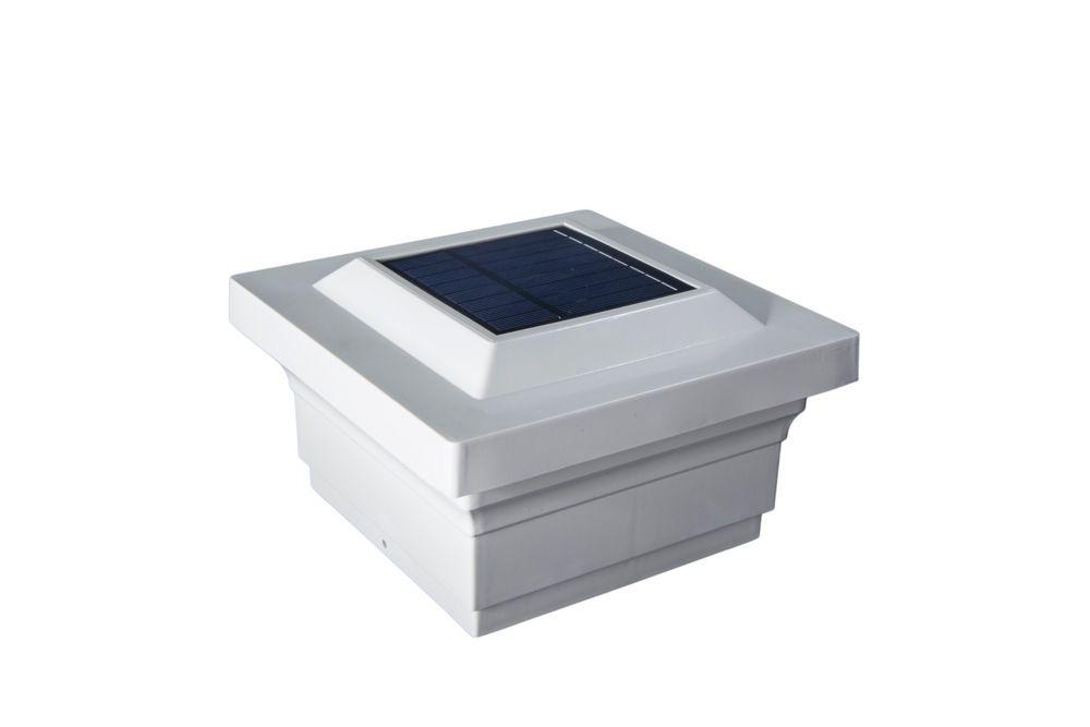 Classy Caps Majestic 5 inch x 5 inch Outdoor White Vinyl LED Solar Post Cap
