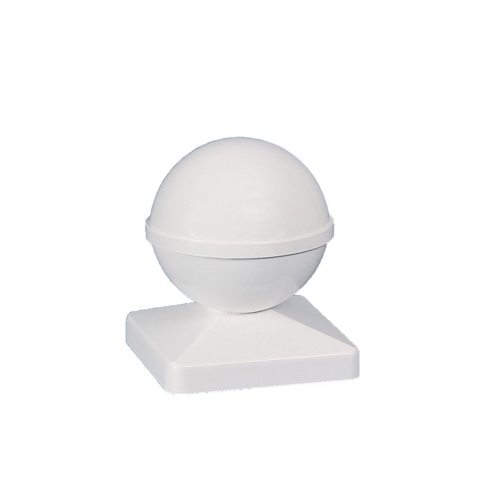 4X4 Ball White Pvc Post Cap