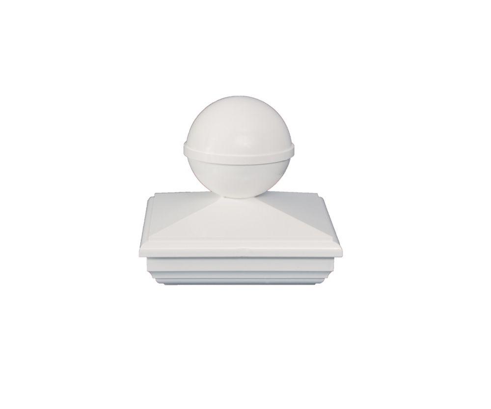 5X5 New England Ball White Pvc Post Cap