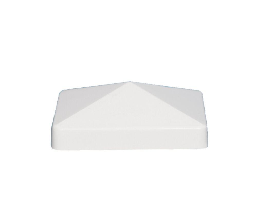 5 po x 5 po capuchon de poteau PVC Pyramid- blanc