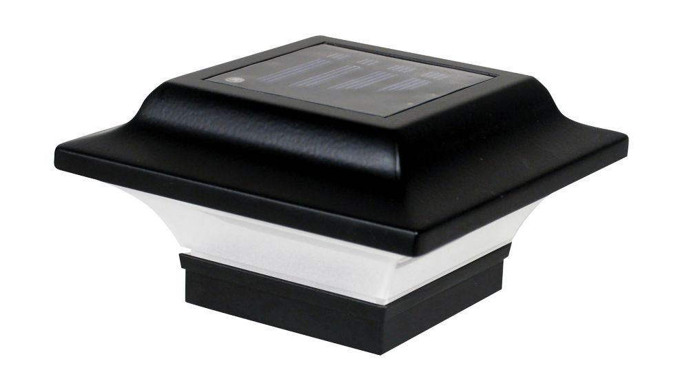 Classy Caps Imperial 2.5 inch x 2.5 inch Outdoor Black Cast Aluminum LED Solar Post Cap