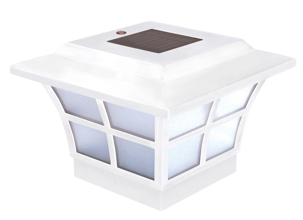Lampe solaire pour poteau Prestige- blanc 4 po x 4 po