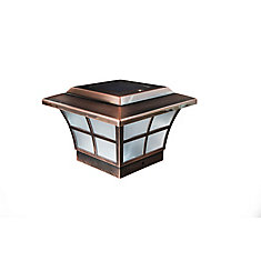 Prestige 4 inch x 4 inch Outdoor Electroplated Copper LED Solar Post Cap