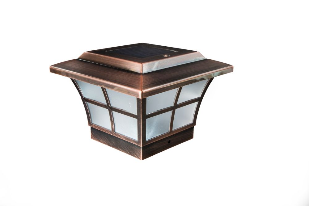 Classy Caps Prestige 4 inch x 4 inch Outdoor Electroplated Copper LED Solar Post Cap
