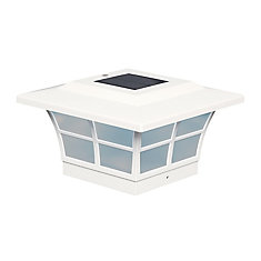 Prestige 5 inch x 5 inch Outdoor White Vinyl LED Solar Post Cap