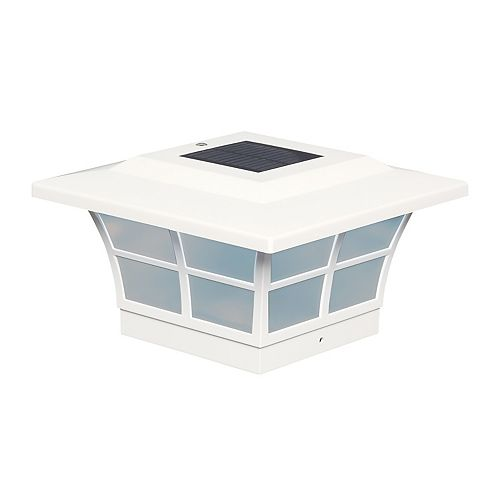 Classy Caps Prestige 5 inch x 5 inch Outdoor White Vinyl LED Solar Post Cap
