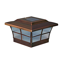 Prestige 6 inch x 6 inch Outdoor Electroplated Copper LED Solar Post Cap