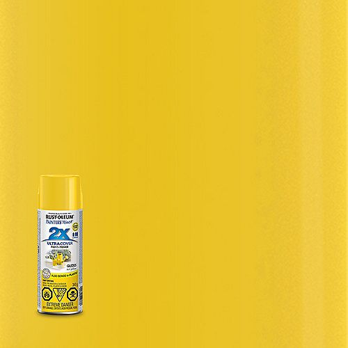 Rust-Oleum Painter's Touch 2X Ultra Cover Multi Purpose Paint And Primer In Gloss Sun Yellow, 340 G Aerosol Spray Paint