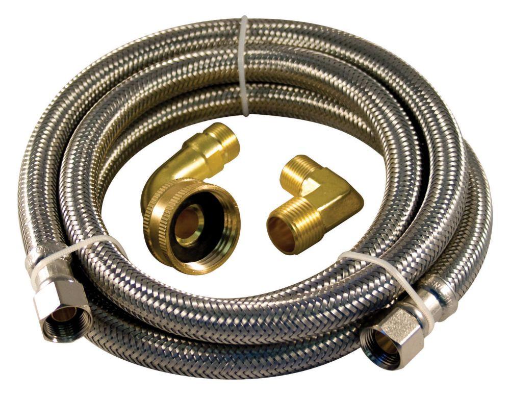 Aqua-Dynamic Flex Connector Ss 72i Dishwasher Kit Two Elbow Lead Free