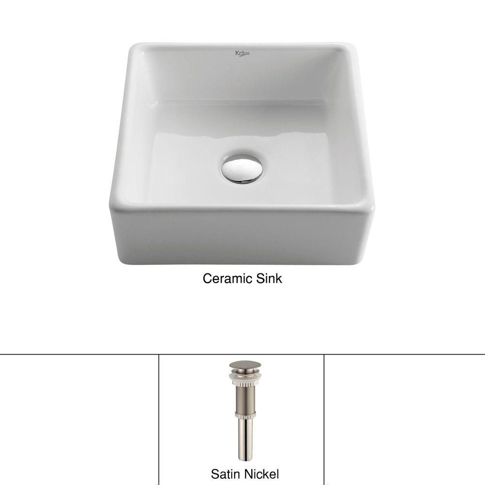 Square Ceramic Sink in White with Pop-Up Drain in Satin Nickel