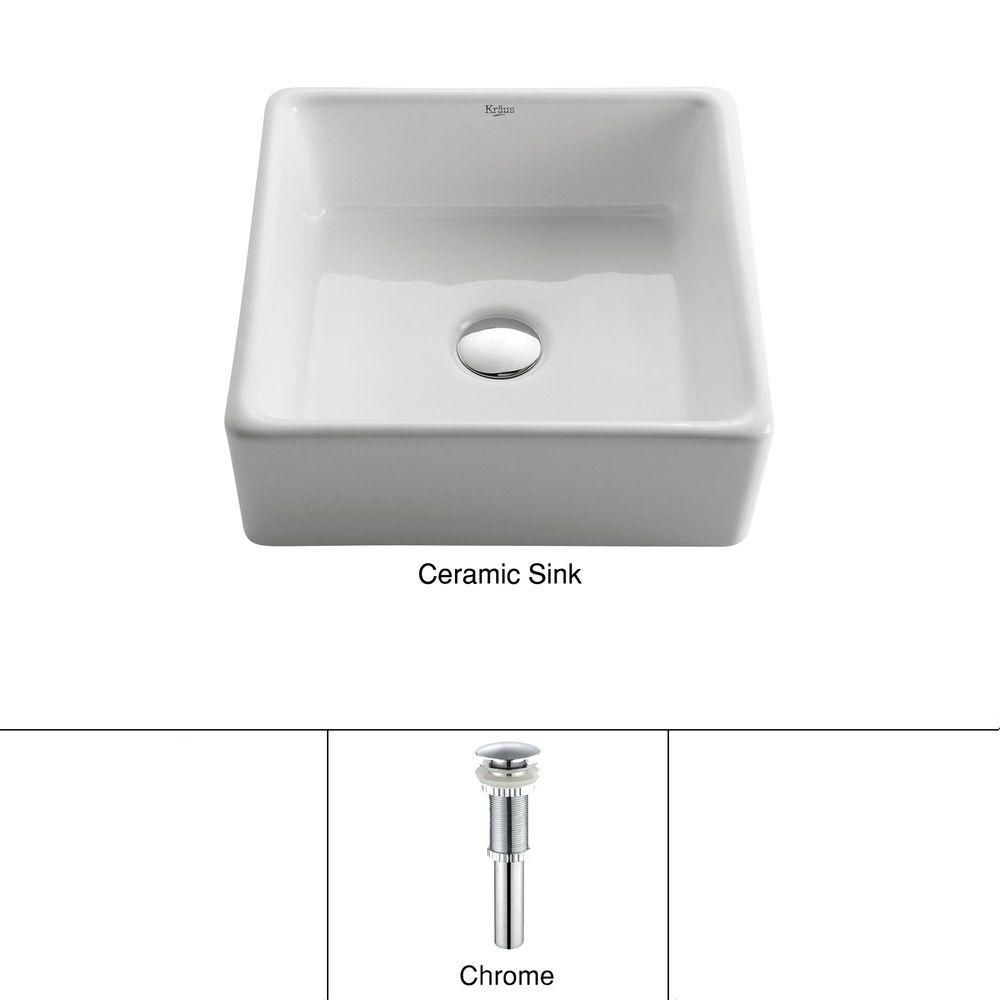 Lavabo carré blanc en céramique avec drain escamotable, chrome