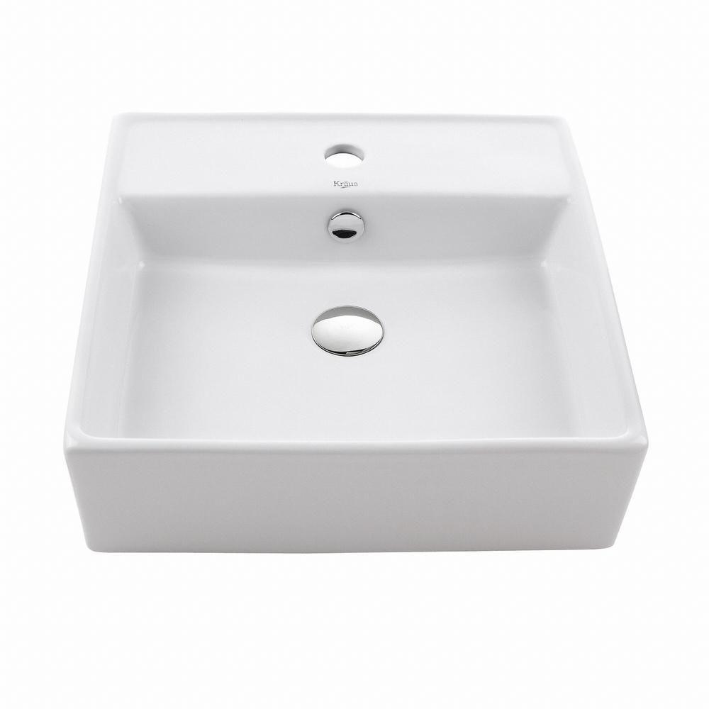 Square Ceramic Sink in White