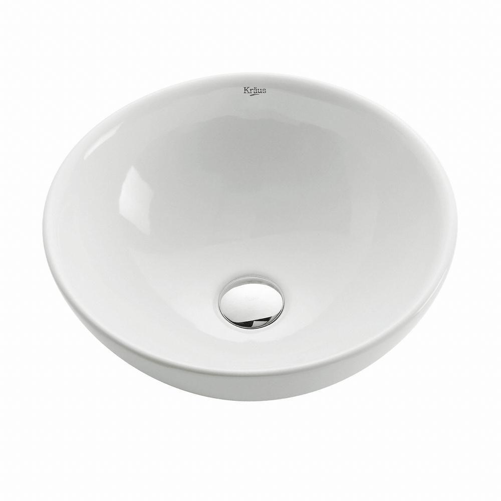 Round Ceramic Bathroom Sink in White