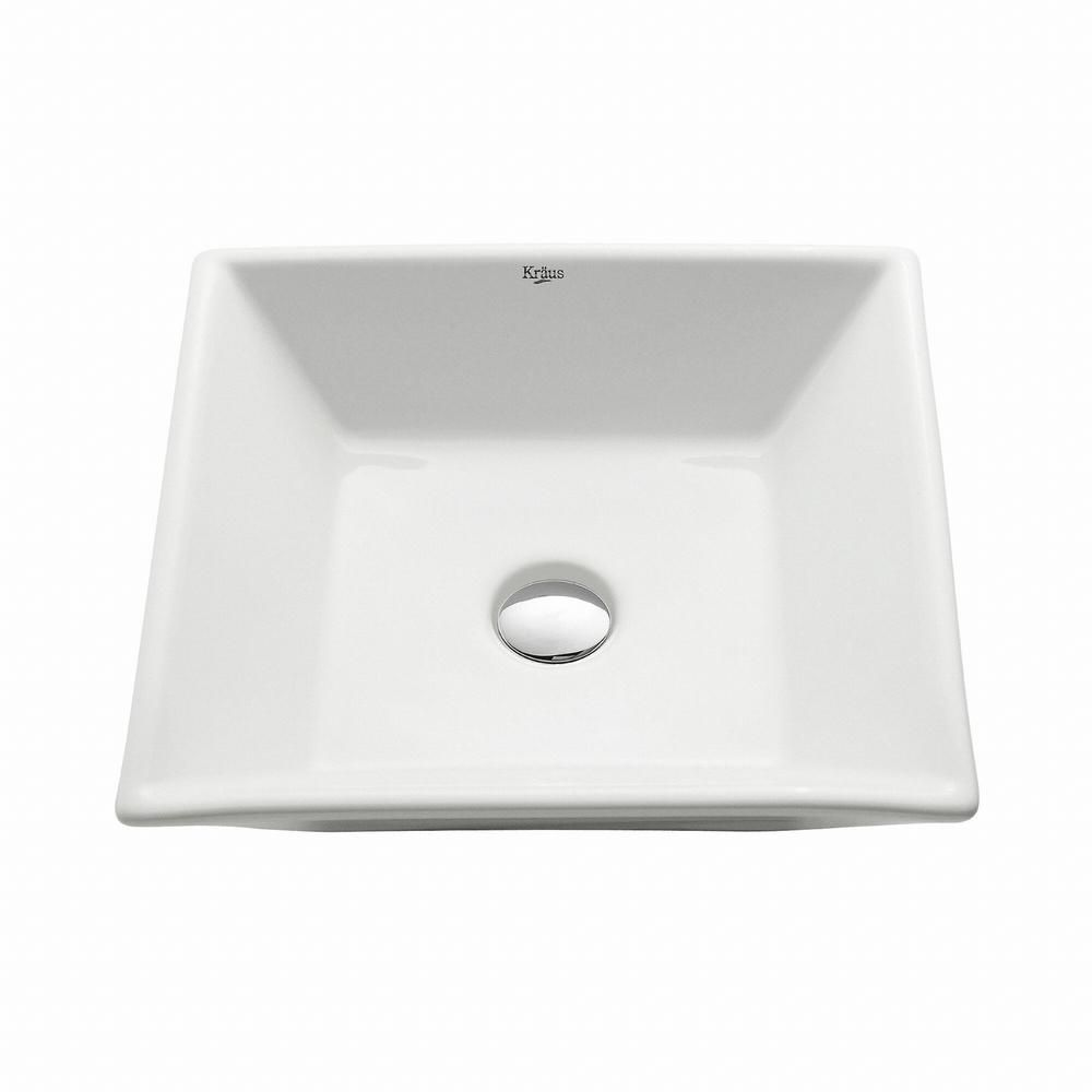 Square Ceramic Bathroom Sink in White