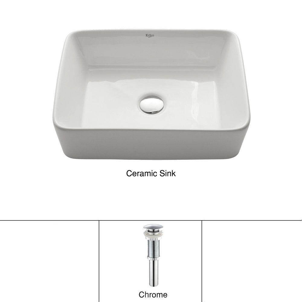 Lavabo rectangulaire blanc en céramique avec drain escamotable, chrome