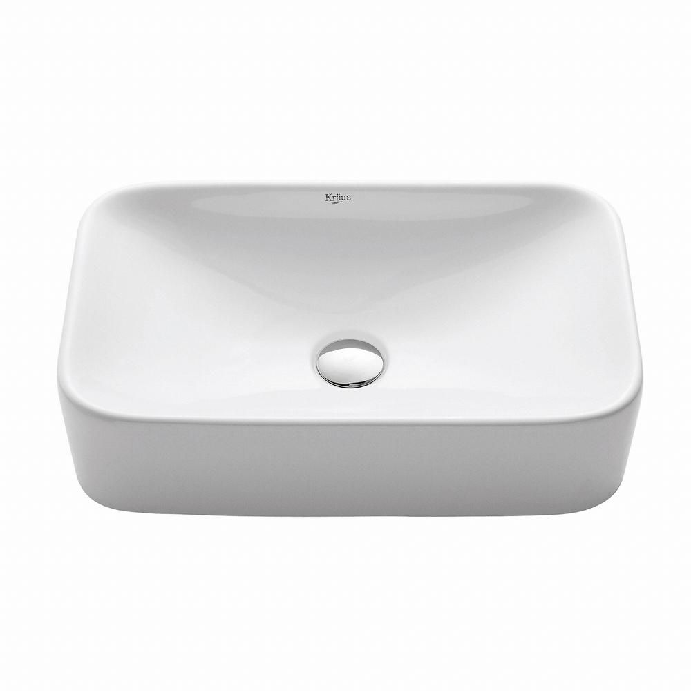 Rectangular Ceramic Bathroom Sink in White