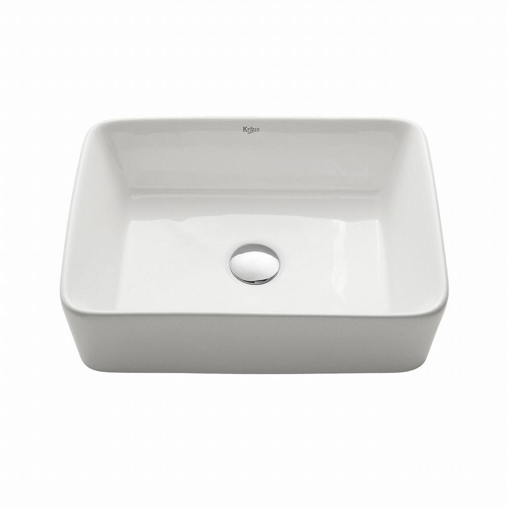 Lavabo rectangulaire blanc en céramique