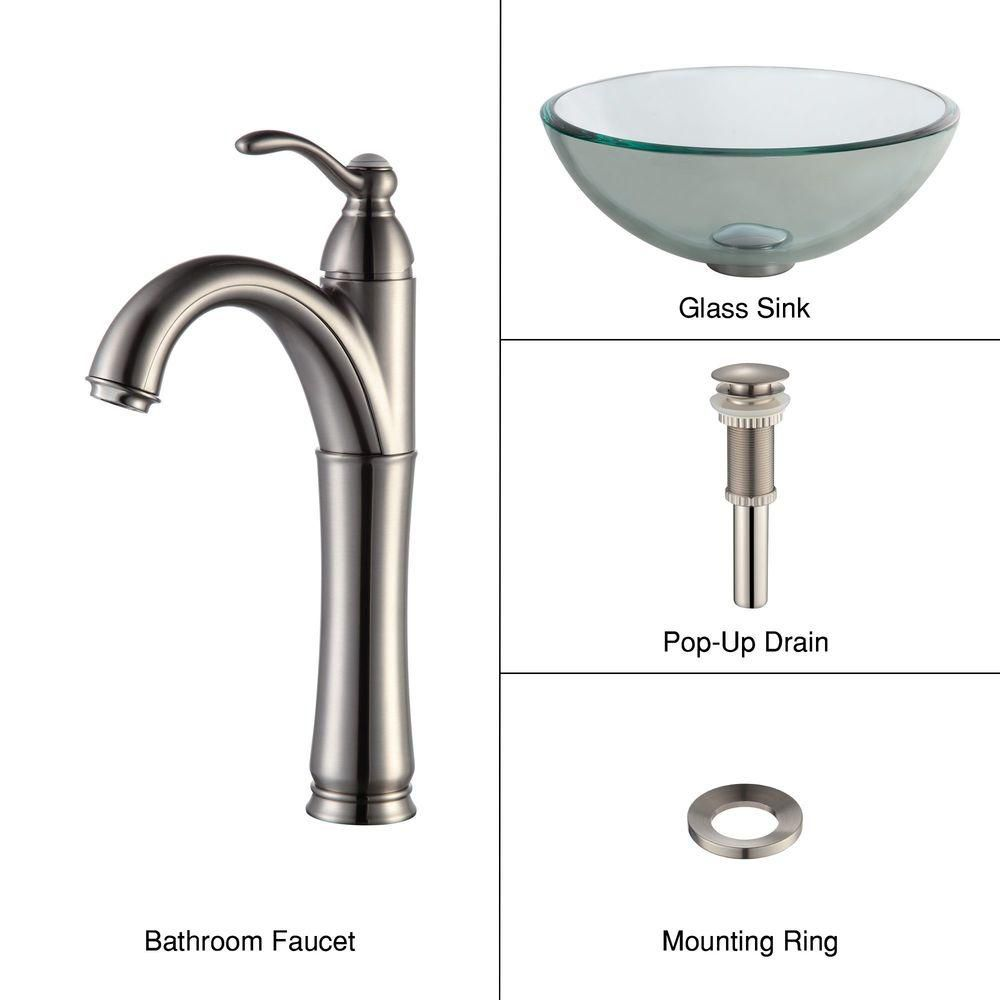 14-inch Clear Glass Vessel Sink with Riviera Faucet in Satin Nickel