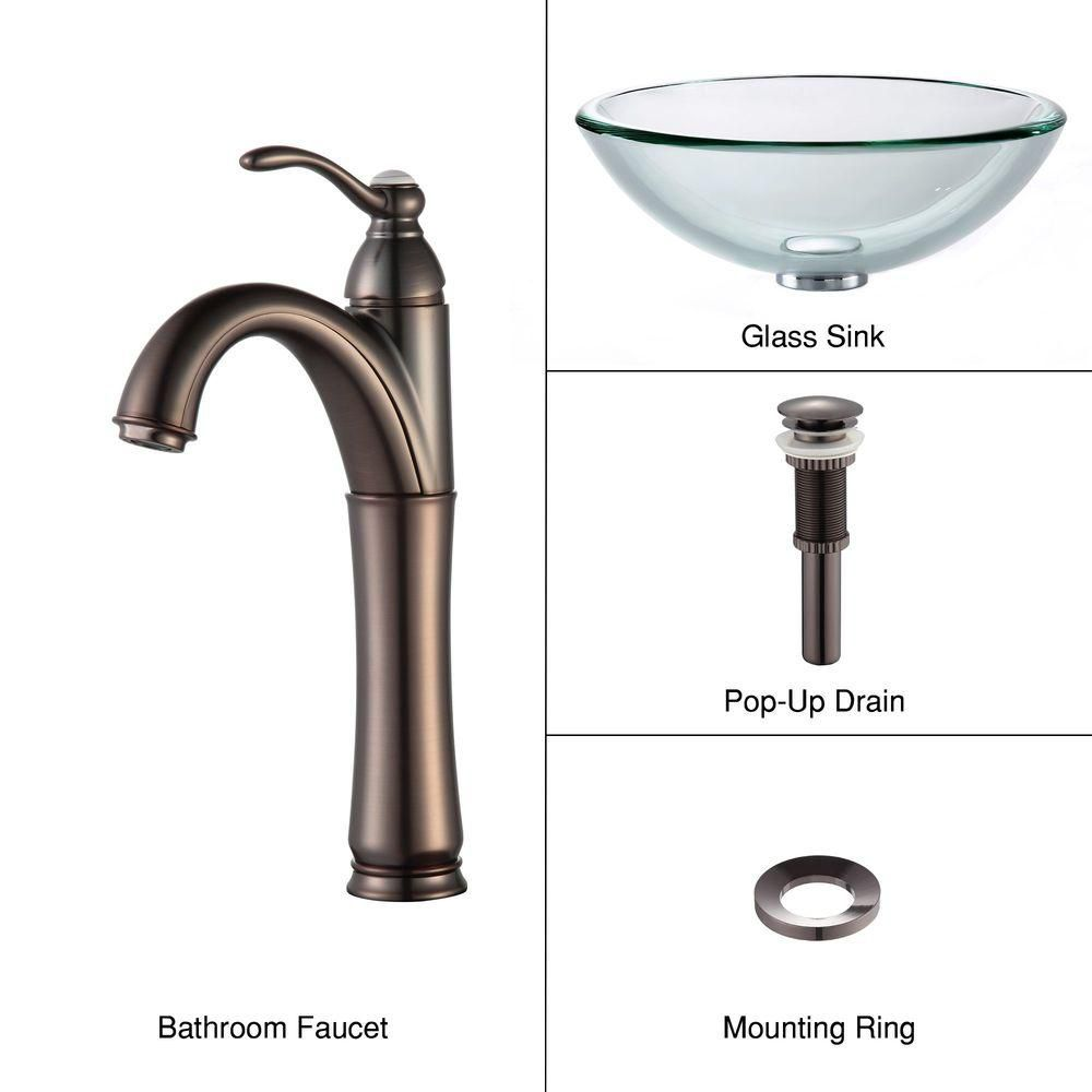 Clear Glass Vessel Sink with Riviera Faucet in Oil-Rubbed Bronze