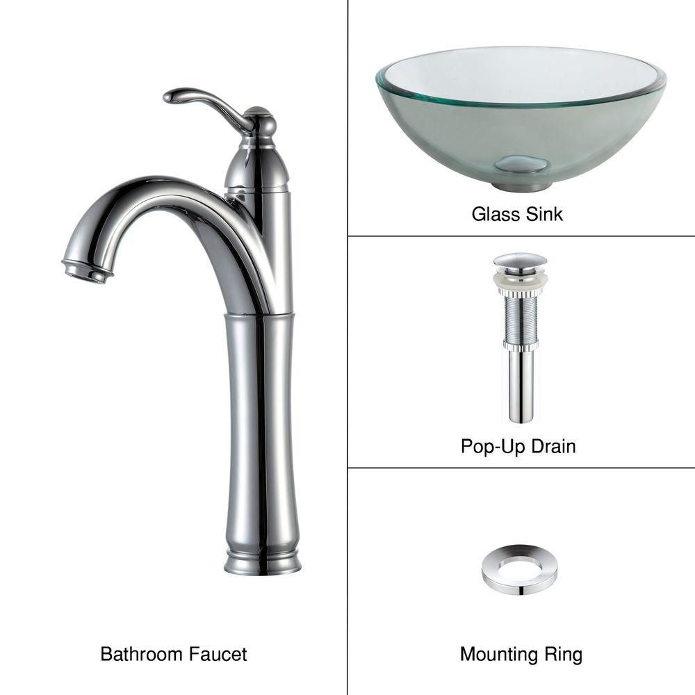 14-inch Clear Glass Vessel Sink with Riviera Faucet in Chrome