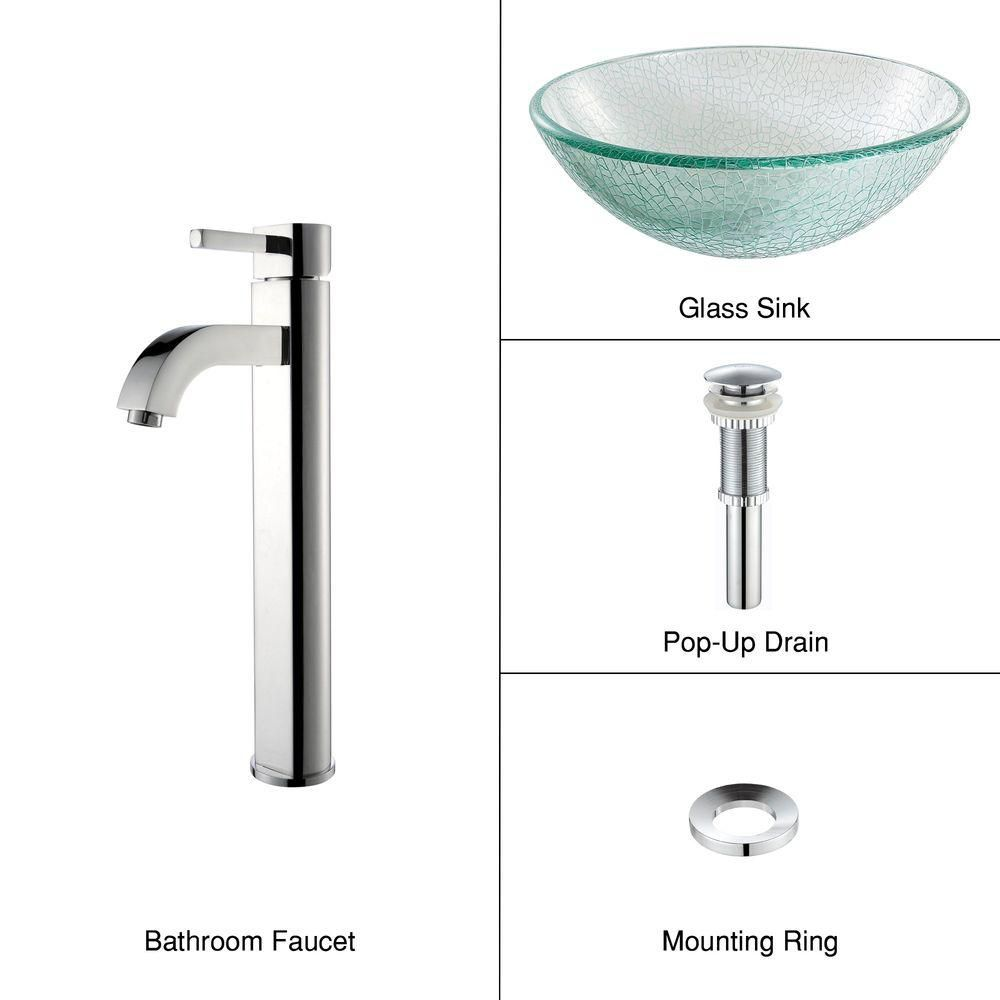 Glass Vessel Sink in Mosaic with Ramus Faucet in Chrome
