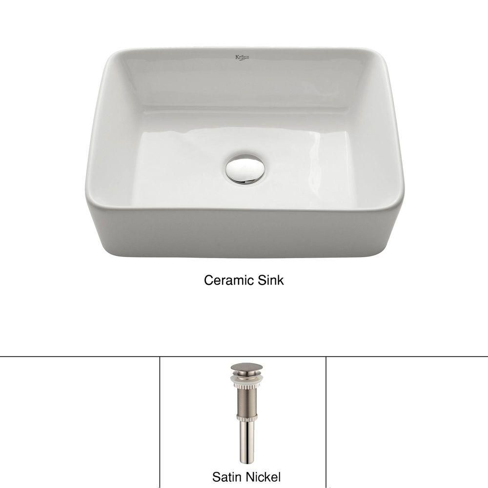 Lavabo rectangulaire blanc en céramique avec drain escamotable, nickel satiné