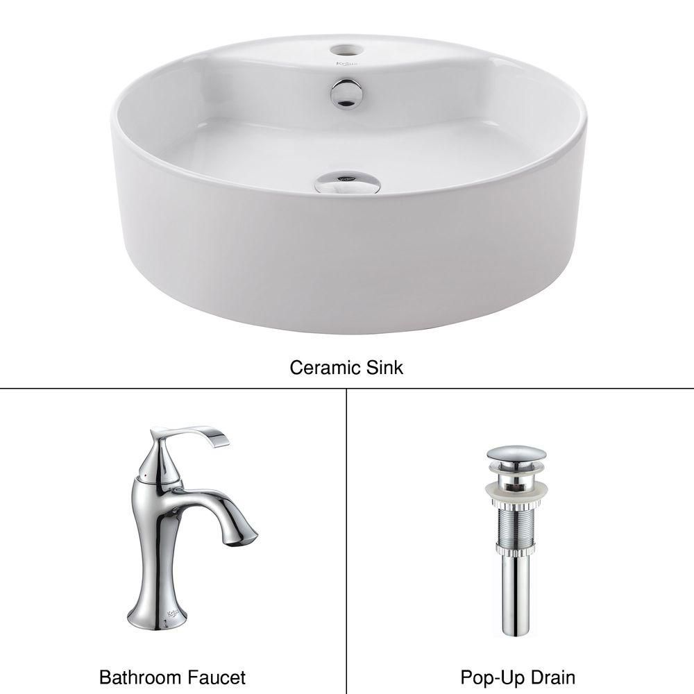 Round Ceramic Sink in White with Ventus Basin Faucet in Chrome