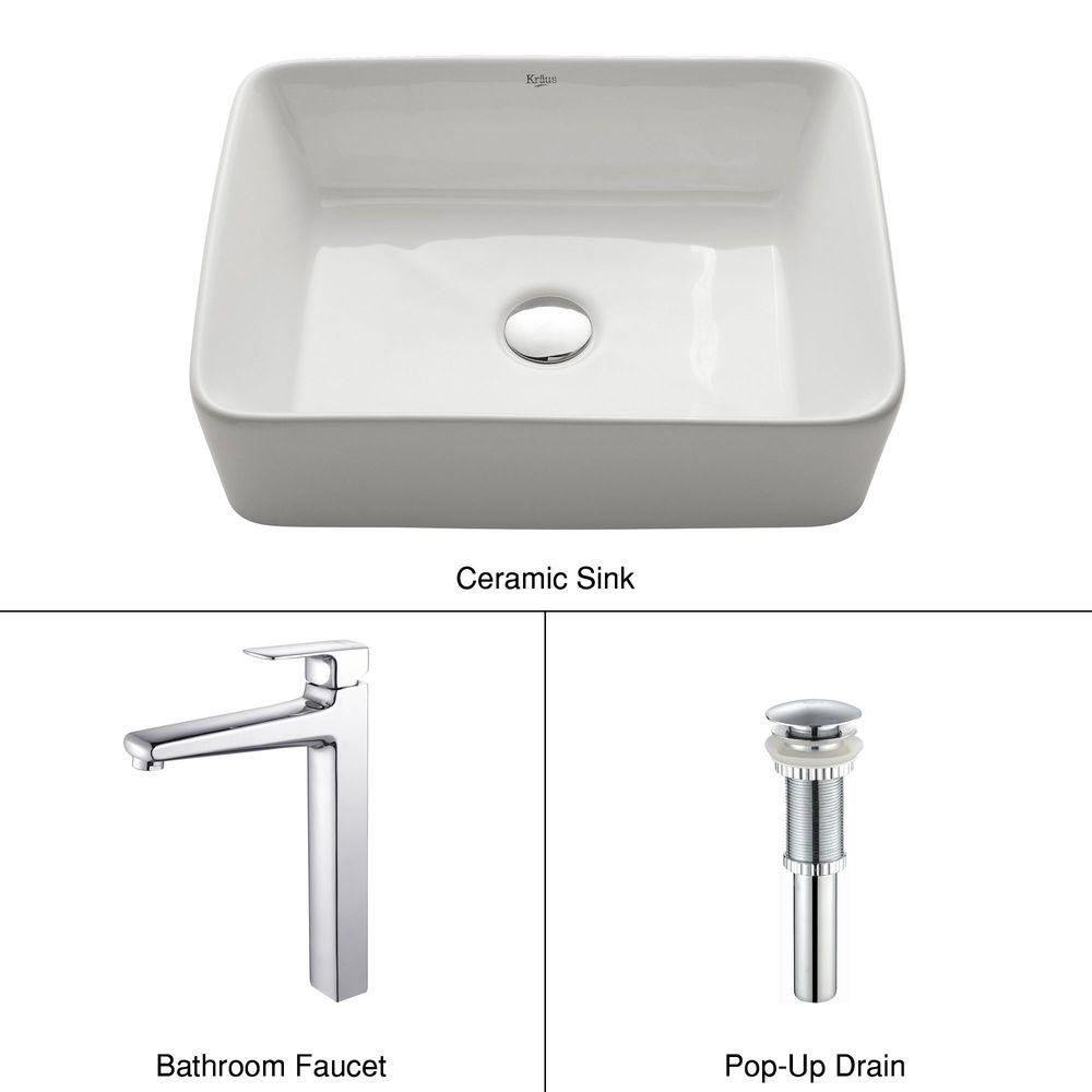 Rectangular Ceramic Vessel Sink in White with Virtus Faucet in Chrome